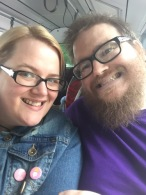 Michael and I on the bus to the Expo after parking up at the NEC